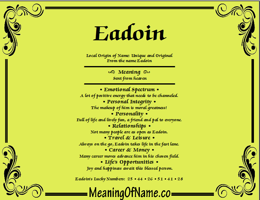 Meaning of Name Eadoin