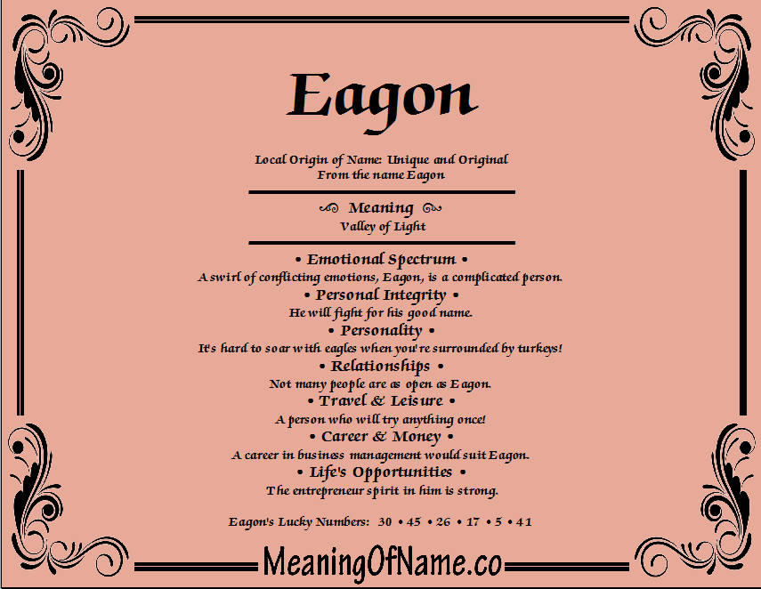 Meaning of Name Eagon