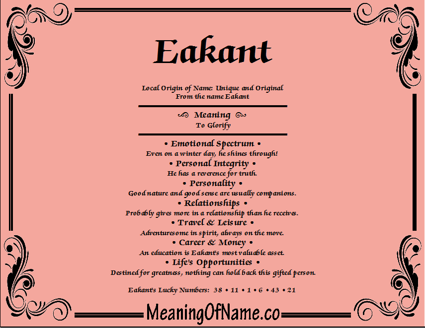 Meaning of Name Eakant