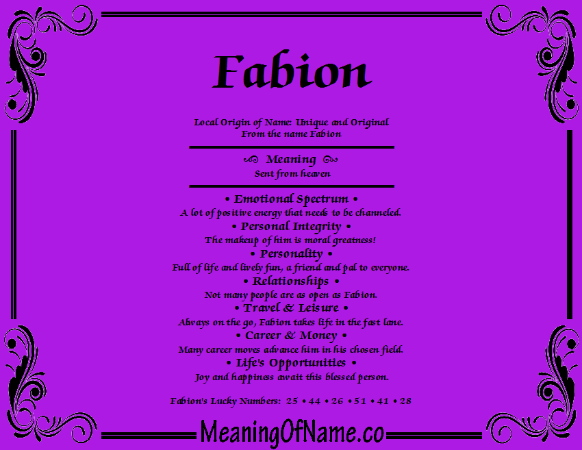 Meaning of Name Fabion