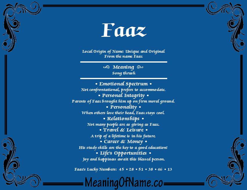 Meaning of Name Faaz