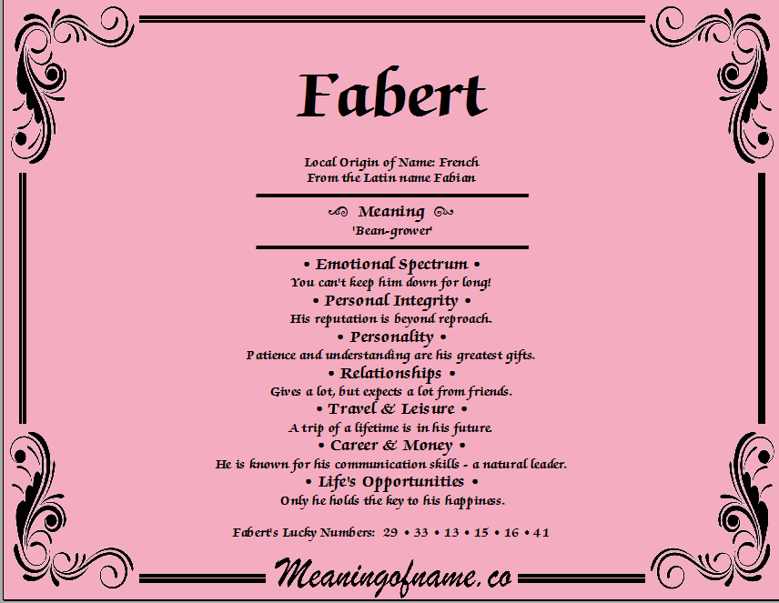 Meaning of Name Fabert