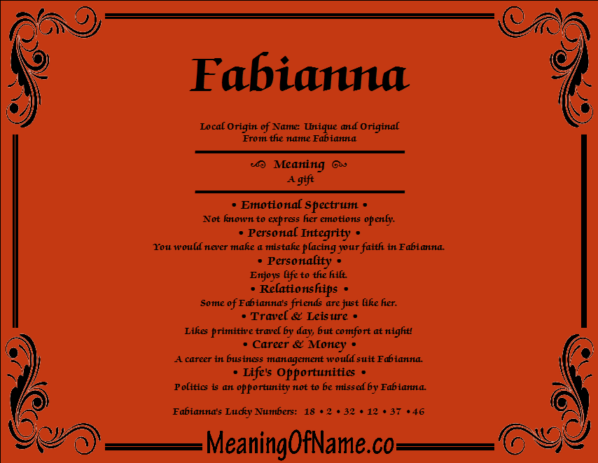 Meaning of Name Fabianna