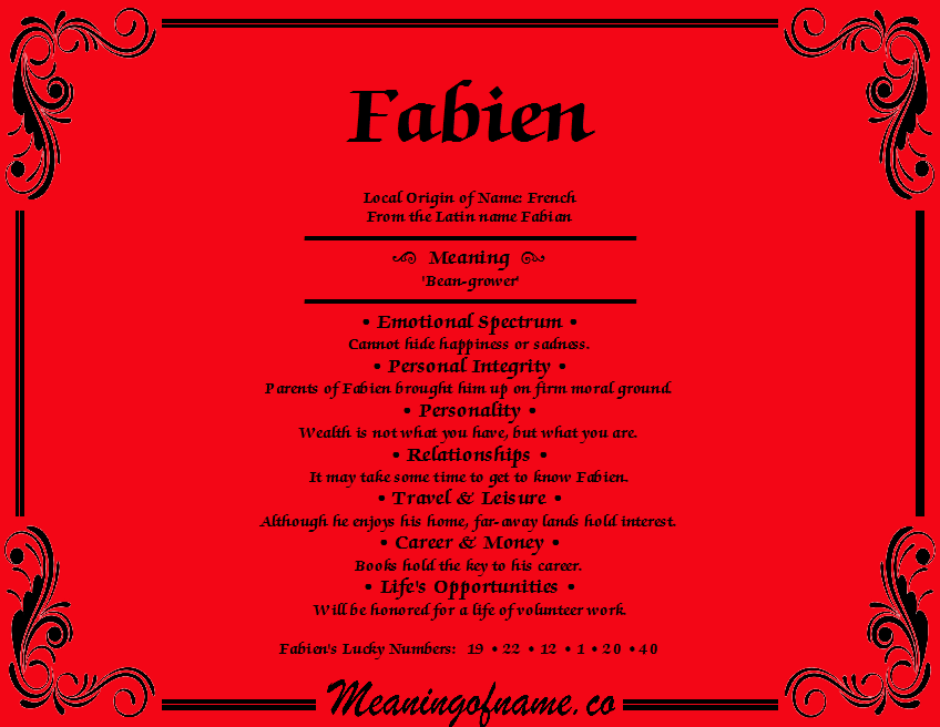 Meaning of Name Fabien