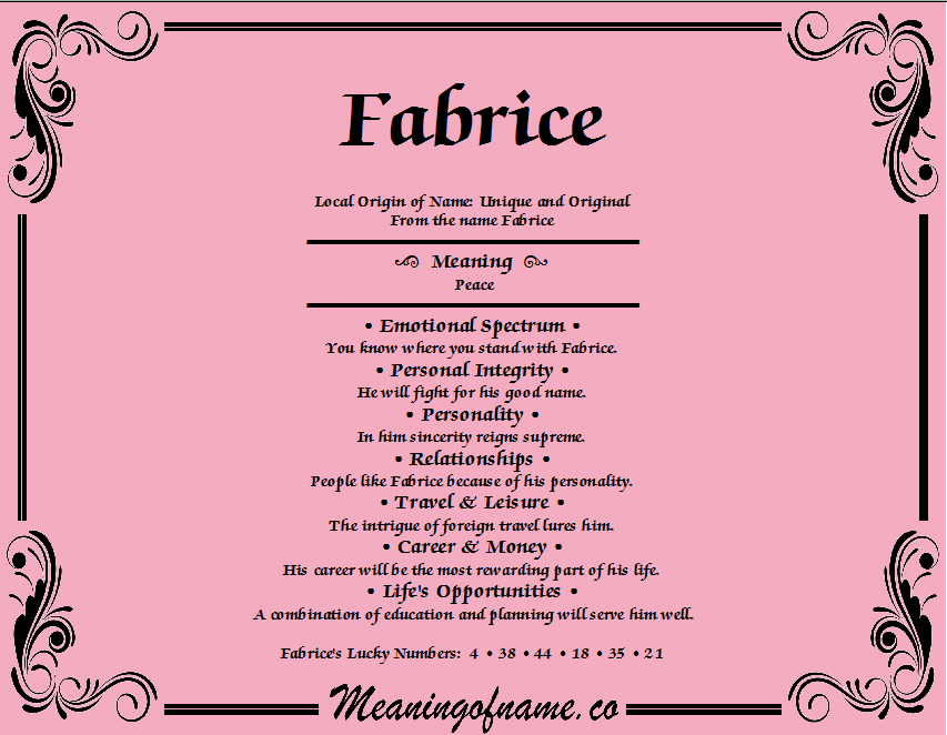 Meaning of Name Fabrice