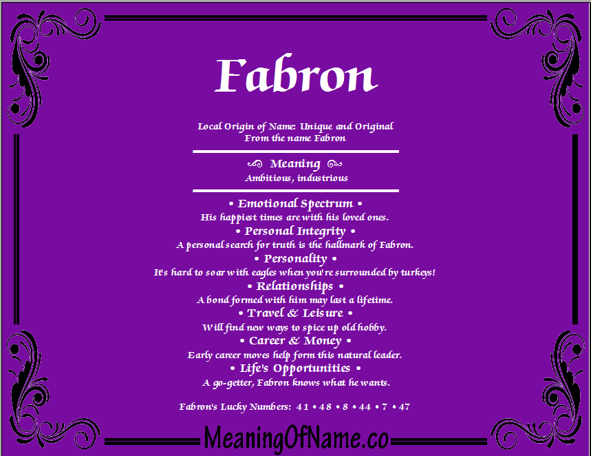 Meaning of Name Fabron