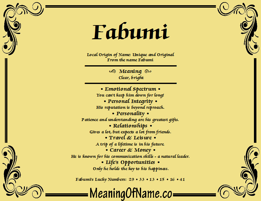 Meaning of Name Fabumi