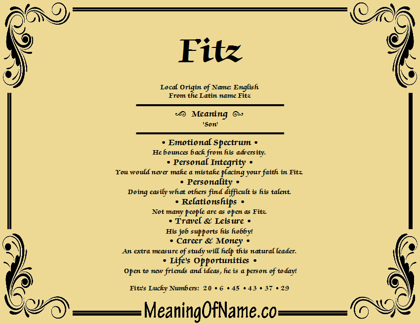 Meaning of Name Fitz