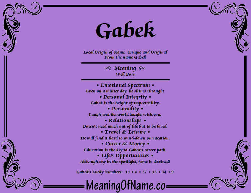 Meaning of Name Gabek
