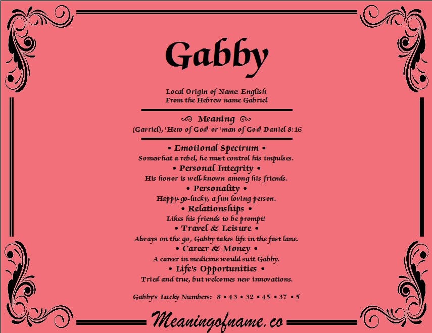 Meaning of Name Gabby