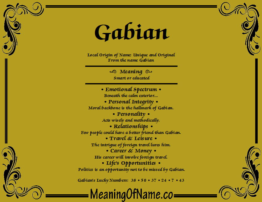 Meaning of Name Gabian