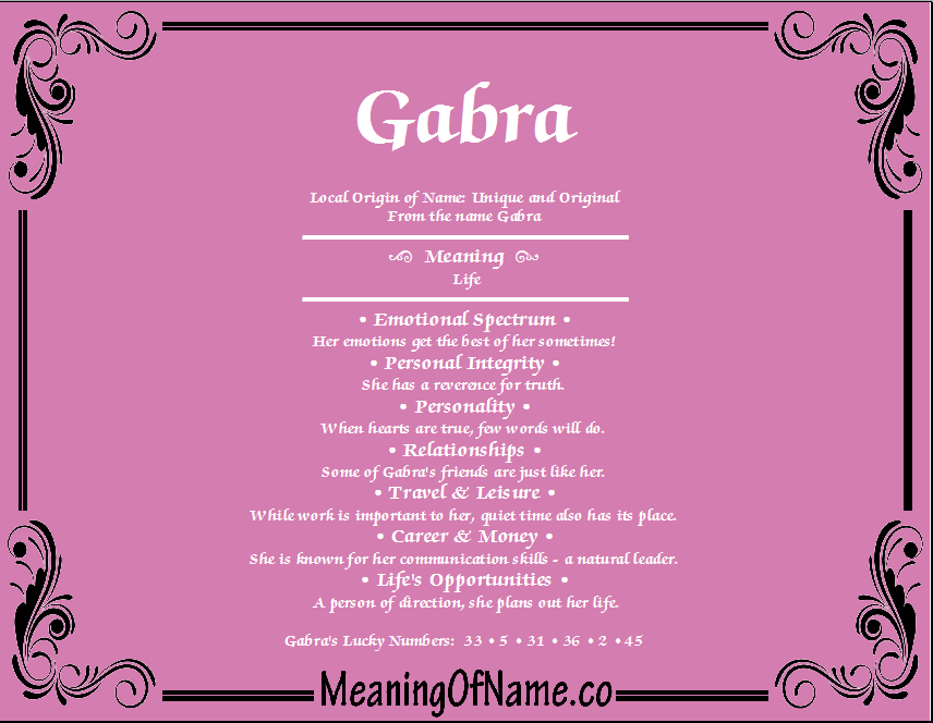 Meaning of Name Gabra