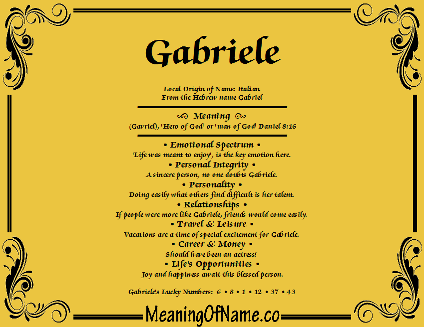Meaning of Name Gabriele