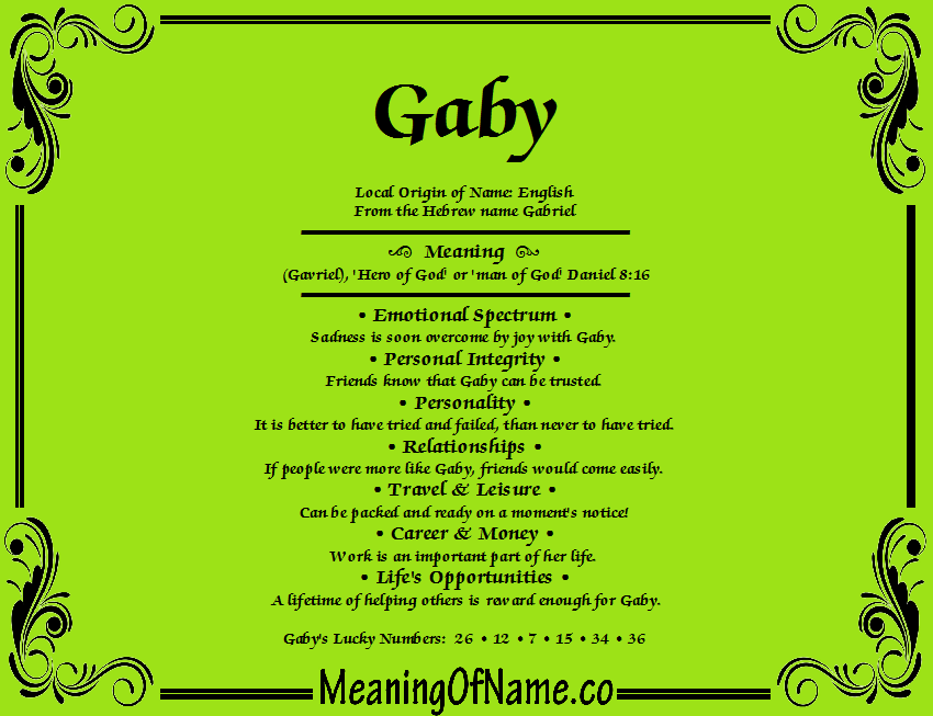 gaby meaning of name