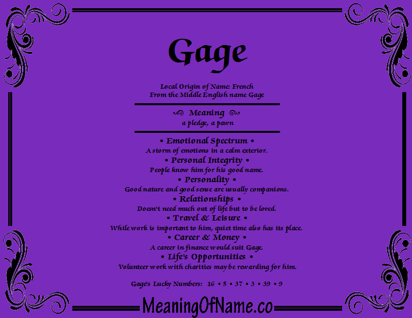 gage name. meaning of name gage n