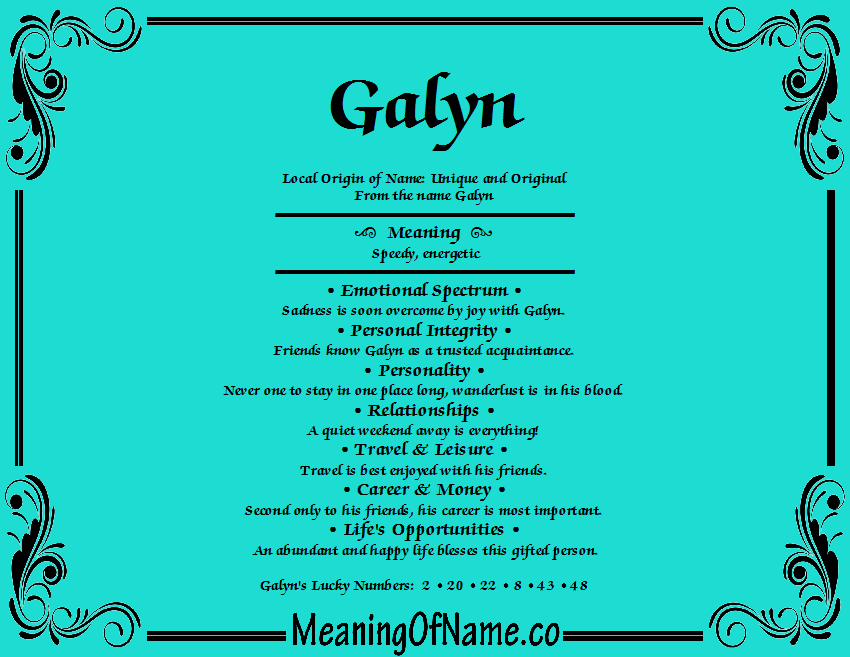 Meaning of Name Galyn
