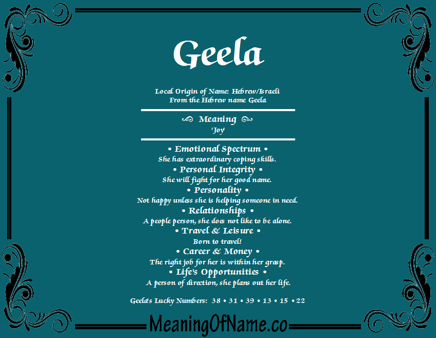 Meaning of Name Geela