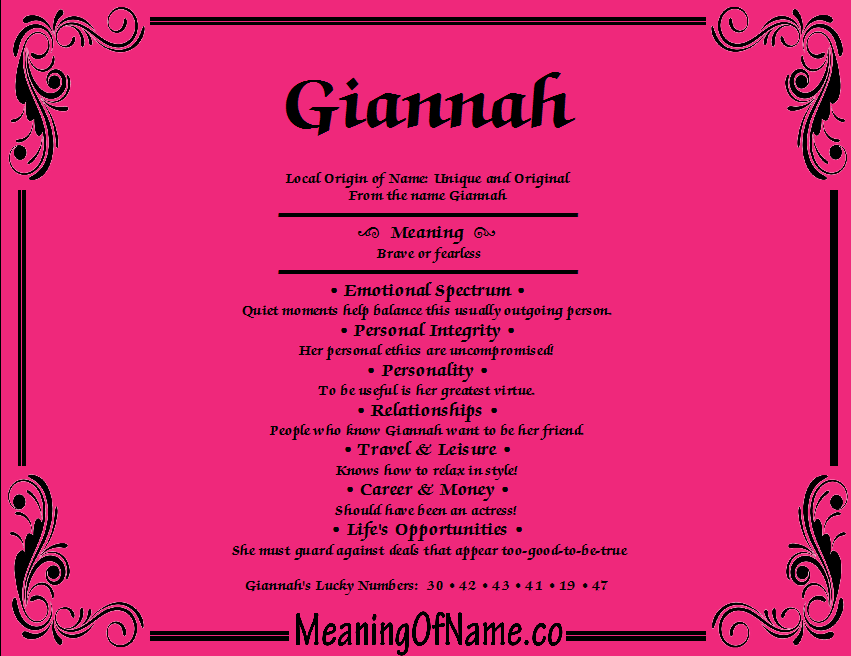 Giannah - Meaning of Name