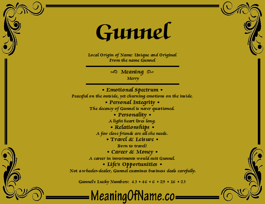 Meaning of Name Gunnel