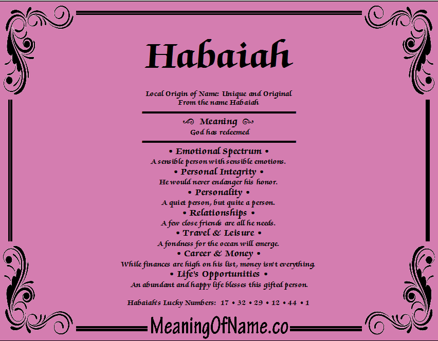 Meaning of Name Habaiah
