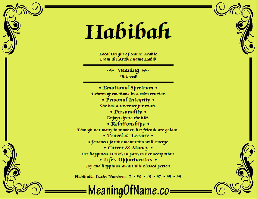 Meaning of Name Habibah