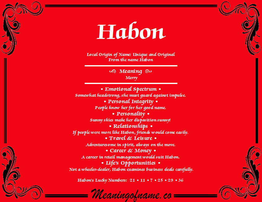 Meaning of Name Habon