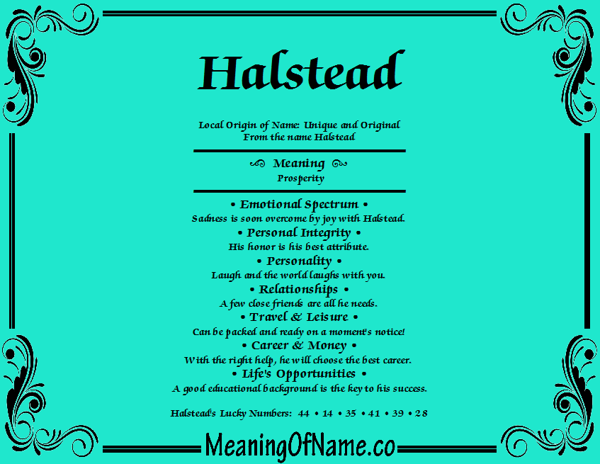 Meaning of Name Halstead