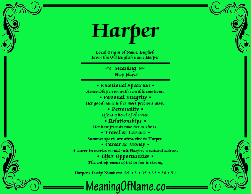 Meaning of Name Harper
