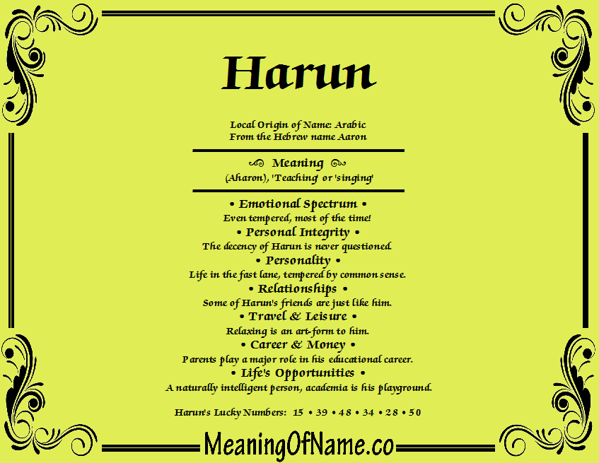 Meaning of Name Harun