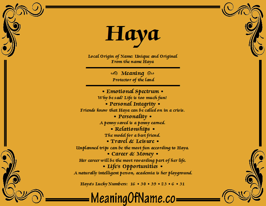 Meaning of Name Haya