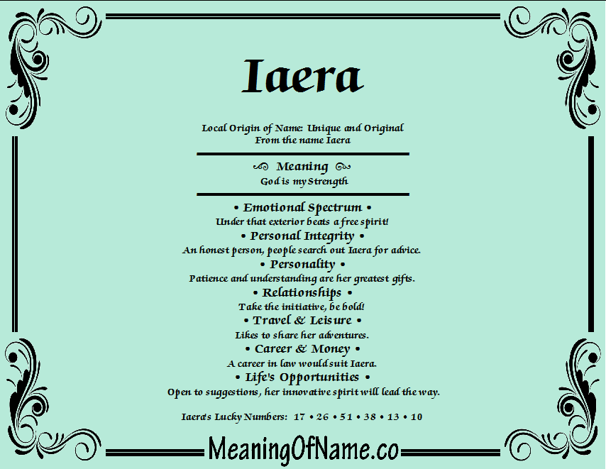 Iaera - Meaning of Name
