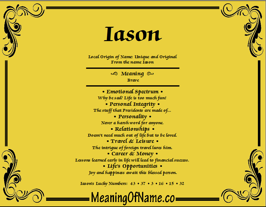 Meaning of Name Iason