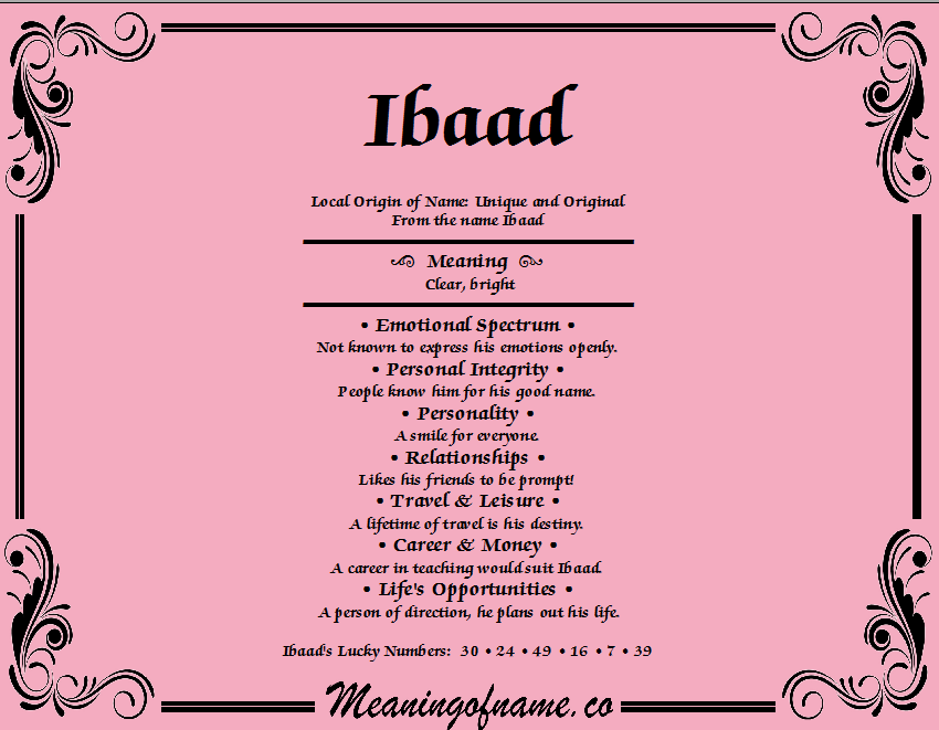 Meaning of Name Ibaad