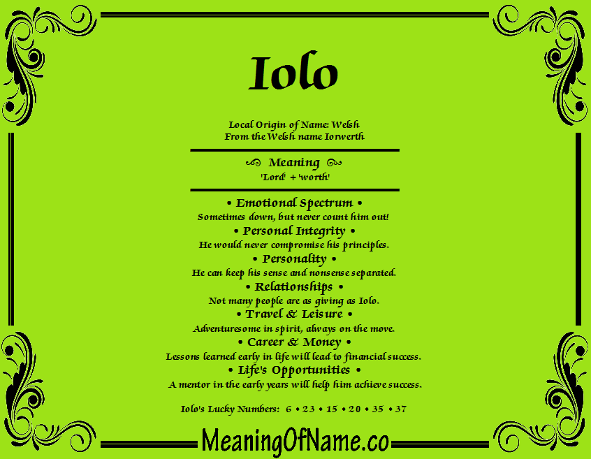 Meaning of Name Iolo