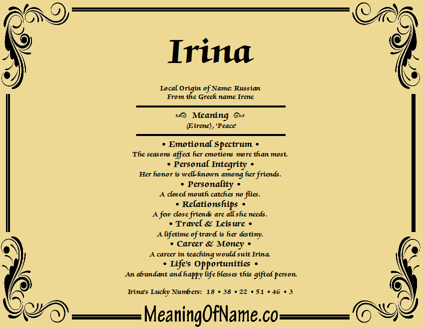 Meaning of Name Irina