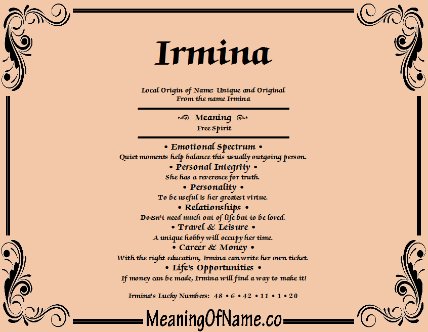 Meaning of Name Irmina