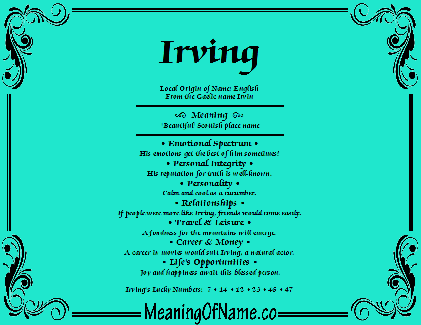 Meaning of Name Irving