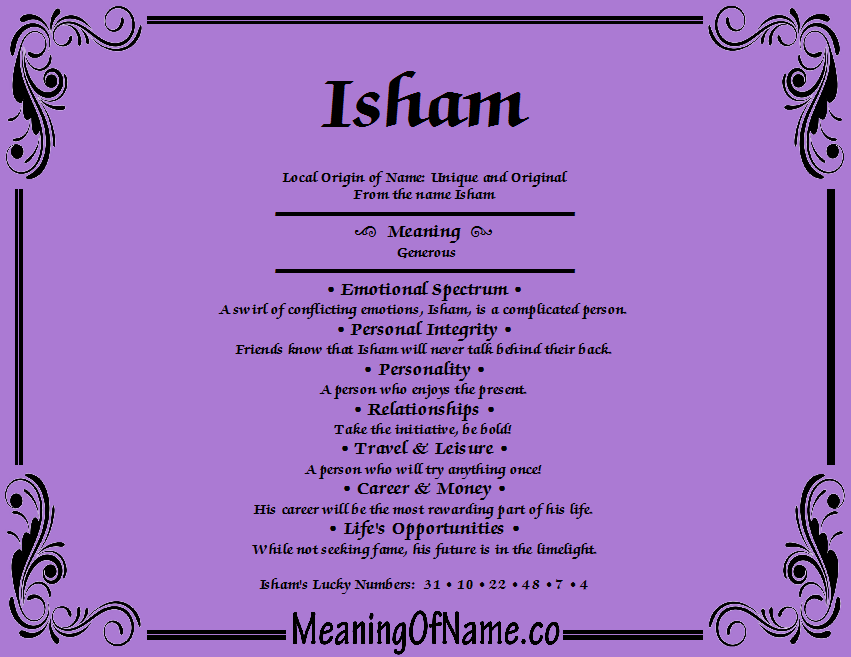 Meaning of Name Isham