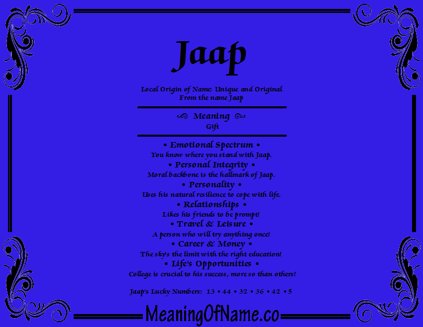 Meaning of Name Jaap