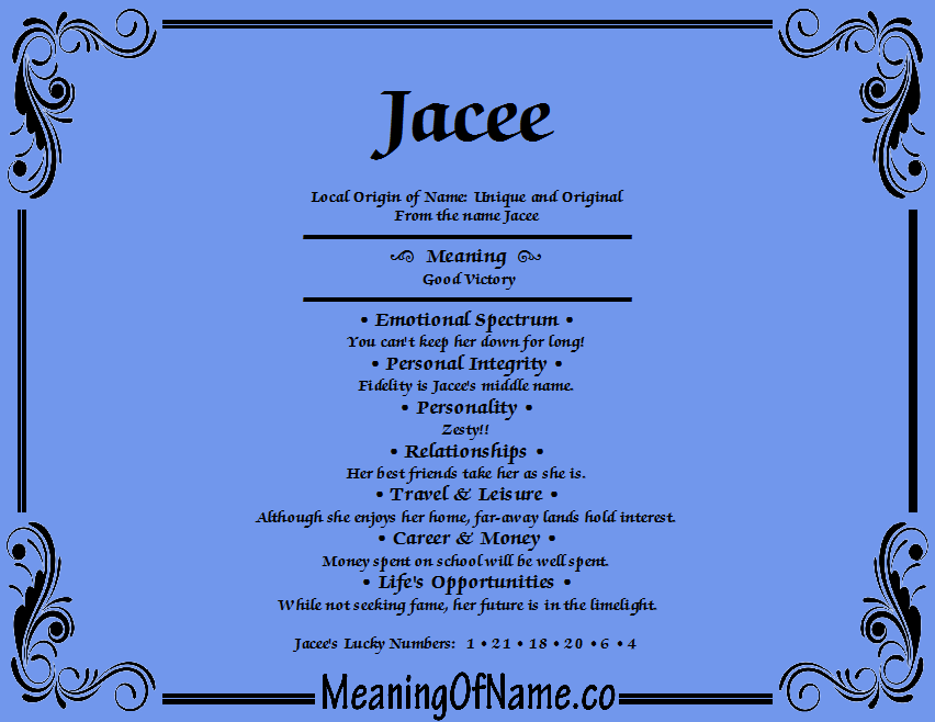 Meaning of Name Jacee