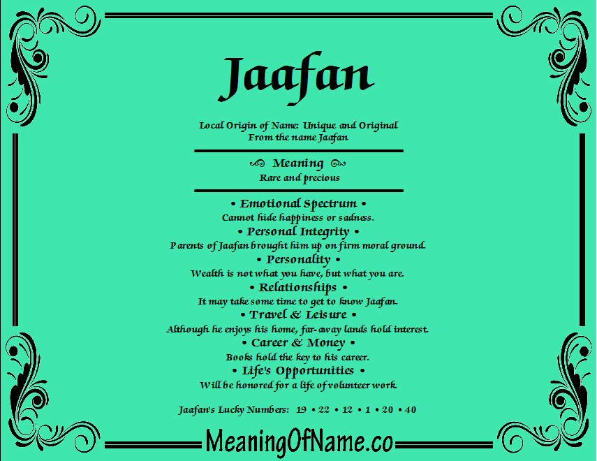 Meaning of Name Jaafan