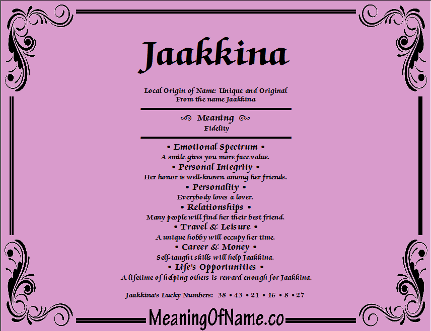 Meaning of Name Jaakkina
