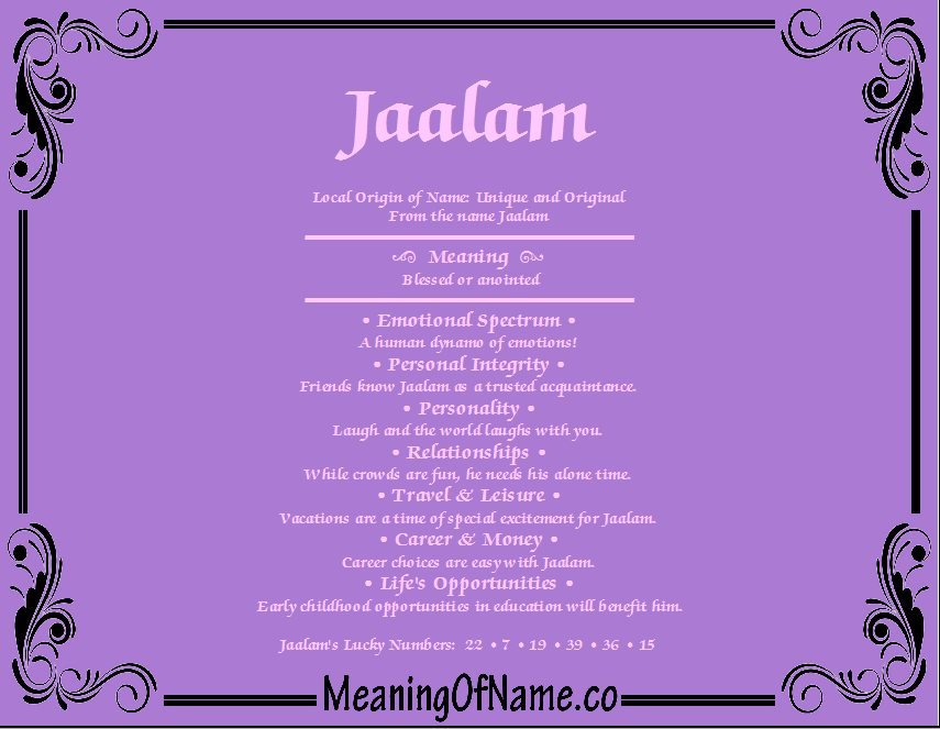 Meaning of Name Jaalam