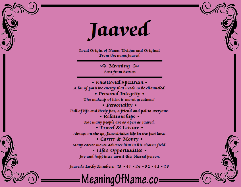 Meaning of Name Jaaved