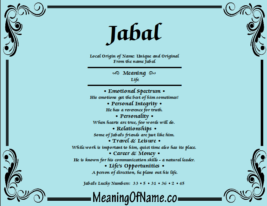 Meaning of Name Jabal