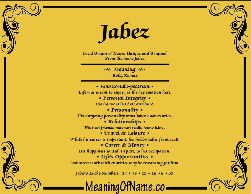 Meaning of Name Jabez