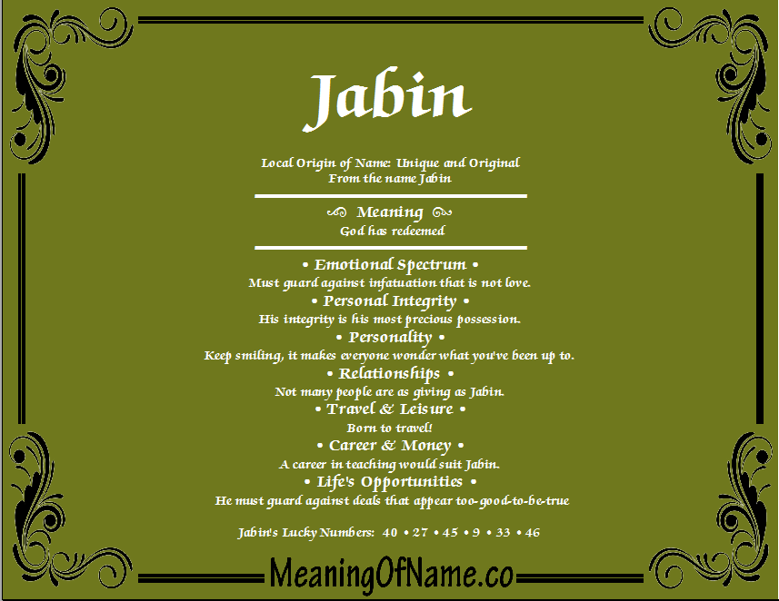 Jabin - Meaning of Name