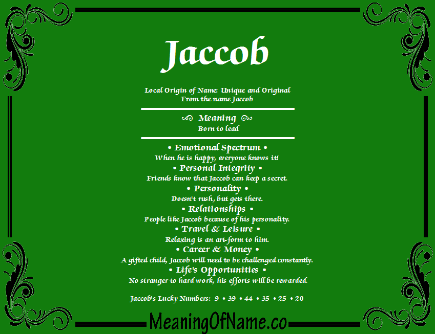 Meaning of Name Jaccob