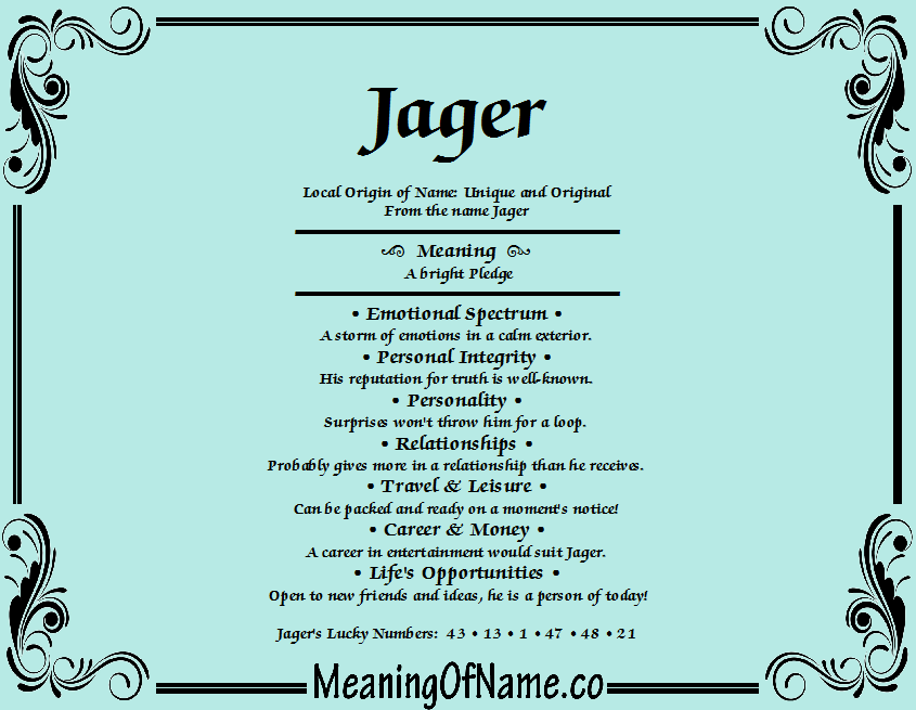 Meaning of Name Jager