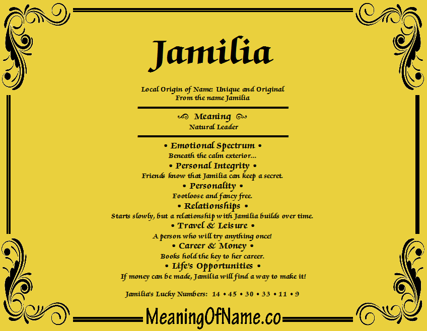Meaning of Name Jamilia